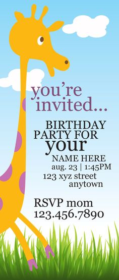Giraffe birthday invitation by LynLaBelleDesign. $30 for 25 with matching solid color envelope. Customize colors at no additional charge.