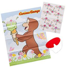 Our Curious George Party Game features the adorable monkey carrying a rather large ice cream cone that you pin the sprinkled topping to.