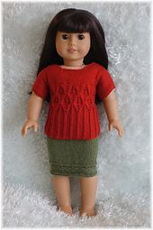 """American Girl - """"Autumn Leaves"""" Top and Skirt by designer Purl Knit Designs."""