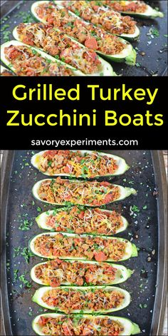 Grilled Turkey Zucchini Boats Recipe - Looking for grilling recipes? Turkey stuffed zucchini makes the perfect healthy dinner! One of the best zucchini recipes I've ever made. ad #tryturkey www.savoryexperiments.com