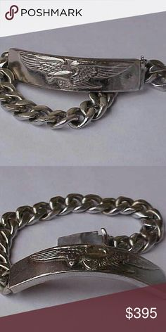 "Heavy sterling silver bracelet with eagle Vintage Men bracelet is 7 7/8 inches long, almost 8""  14mm wide of eagle plate and 10mm width of the bracelet.  Weight 38.8gr. Jewelry Bracelets"