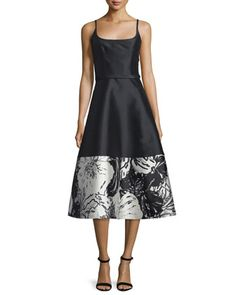 Sleeveless+A-line+Floral-Hem+Cocktail+Dress++by+Theia+at+Neiman+Marcus.