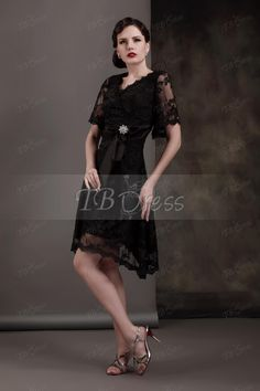 Gorgeous Crystal Sashes A-Line V-Neck Short-Sleeves Tea-length Plus Size Luba's Mother of the Bride Dress
