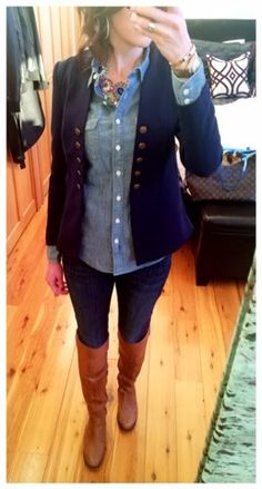 Denim on denim casual work outfit - JCrew chambray shirt with navy H&M double breasted military blazer, jeans and riding boots