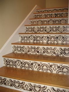 Spanish Staircase Risers - Mural Idea in San Pedro CA Stenciled Stairs, Painted Stair Risers, Painted Staircases, Tile Steps, Stair Steps, Steampunk Bedroom, Entry Stairs, Basement Stairs, Basement Ideas