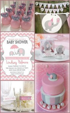 pink and grey elephant baby shower ideas for a girl from