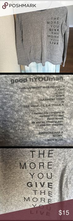 Good Hyouman-Long Sleeve Tshirt This brand is based out of LA and known for their good message and company mission. When I purchased this top it had a hole on the right arm(pic 4) in the back of the shirt...could be an easy fix however I can't sew so I never tried. I am pricing it with that in mind. People always comment on this top. Open to offers and I love questions! ❤️ Urban Outfitters Tops Tees - Long Sleeve