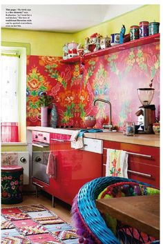 Below are the Bohemian Style Kitchen Design Ideas. This article about Bohemian Style Kitchen Design Ideas was posted under the … Gypsy Kitchen, Bohemian Kitchen, Red Kitchen, Kitchen Colors, Bohemian Decor, Bohemian Style, Kitchen Decor, Kitchen Design, Kitchen Ideas