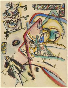 """""""The Horseman (Reiter)"""" - Wassily Kandinsky (born Russia. Wassily Kandinsky, Bauhaus, Abstract Words, Abstract Art, Reproduction, Museum Of Modern Art, Art And Architecture, Abstract Expressionism, Les Oeuvres"""