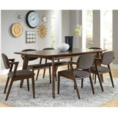 Malone Mid-Century Modern Wood Veneers and Solids Casual Rectangular Dining Table with Tapered Legs