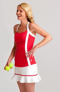I'd like the top to be a tad shorter-- goes way below the top of the skirt, unnecessarily.  Otherwise, like the design.  4all by JoFit Ladies Tennis Outfits (Shirt & Skort) - Savona
