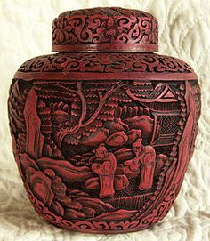 Antique Chinese Cinnabar Vase   Antique Chinese Deeply Carved Cinnabar Covered Jar (item #942234)