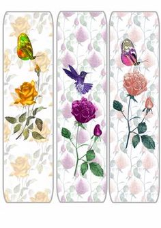 rose and butterfly bookmarks on Craftsuprint designed by Michelle Johnson - this is a bookmark of roses with a butterfly - Now available for download!