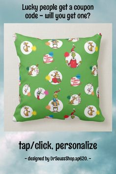 The Grinch | Christmas Dot Pattern Throw Pillow - tap, personalize, buy right now! #ThrowPillow #the #grinch, #dr #seuss, #christmas, Grinch Stole Christmas, Christmas Humor, Throw Pillow Sets, Throw Pillows, Custom Pillows, Accent Pillows, Color Patterns, Dots, Make It Yourself