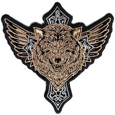 Embroidered Silver Tattoo Pattern Tribal Howling Wolf Coyote Patch Iron On Sew
