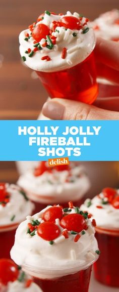 Your cool aunt would totally take down these Holly Jolly Fireball Shots with you. Get the recipe at Delish.com. #fireball #fireballwhisky #whisky #jelloshots #shots #alcohol #booze #recipe #easyrecipe