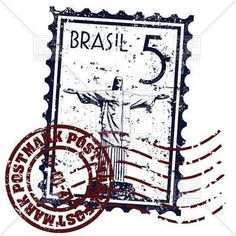 Postage stamp with symbol of Rio de Janeiro - Christ the Redeemer, 16411, download royalty-free vector clipart (EPS)