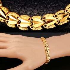 U7 Love Heart Bracelets For Women 18k Real Gold/Platinum Plated Lovers' Bracelets Valentines Gift