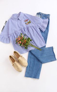 Blue Striped Pointed Collar Ruffle Sleeve Embroidered Babydoll Top Type: Layered/Tiered Fabric: Fabric has no stretch Season: Spring Pattern Type: Striped Sleeve Length: Short Sleeve Color: Blue Material: Cotton Style: Cute Collar: Collar Size Available: XS,S,M,L