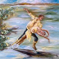 Balletic Pose for Yellow Roses by Louka ~ ice dancers painting 4