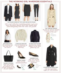The ultimate guide to working girl wardrobe essentials. From the perfect suit, classic handbag...