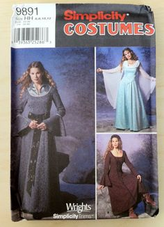 Simplicity Lord of the Rings/medieval dress patterns 9891