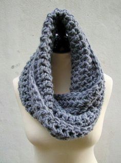 Crochet chunky infinity scarf. Does not have a pattern, but this scarf is easy to make with any basic stitch.