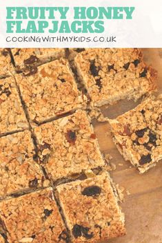 An easy recipe for fruity flapjacks sweetened with honey. They're delicious, and an easy bake for kids to make Tray Bake Recipes, Sweets Recipes, Baking Recipes, Yummy Recipes, Recipies, Yummy Food, Healthy Recipes, Flapjack Recipe