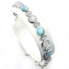'Blue Paradise' Sterling Silver Larimar, Moonstone Bracelet  Price : $124.25 http://www.silverplazajewelry.com/Paradise-Sterling-Silver-Moonstone-Bracelet/dp/B00EV3UYOO