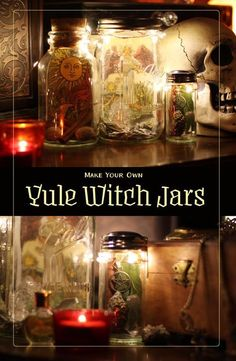 Make these easy, gorgeous Witch Jars for your Yule Altar decoration! See how and get inspiration, ideas, and magical tips xo