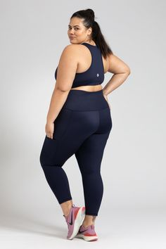 Smart Pocket 7/8 Length Tight - Navy – Active Truth™ Perfect Fit, Tights, Pockets, Crop Tops, Navy, Fabric, Model, How To Wear, Collection