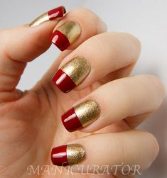 manicurator: Elegant French Tips, simple nail art with Zoya Ziv and Rekha. Together like this they're the perfect colours for Iron Man nails! Golden Nail Art, Golden Nails, French Nail Art, Red And Gold Nails, Red Nails, Hair And Nails, Red Gold, Gold Dots, Gold Glitter