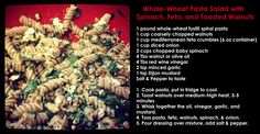 Whole-Wheat Pasta Salad with Toasted Walnuts, Spinach, and Feta. I just made this and I can't stop eating it!