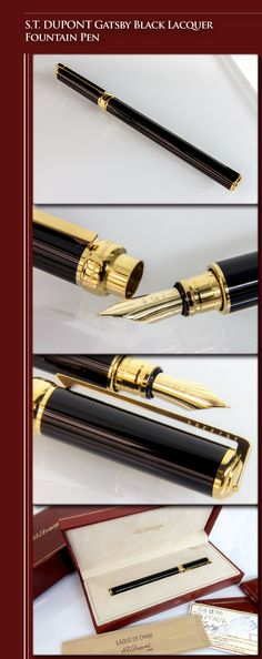 S.T. DUPONT Gatsby Black Lacquer Fountain Pen (brass body, Chinese lacquer, 24kt gold-plated trim, 18kt gold nib) - 1998 / France