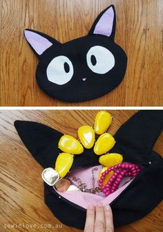 """How to make a Jiji cat purse from Studio Ghibli's Kiki's Delivery Service. Use """"PINTEREST15"""" and get 15% off my ebooks."""