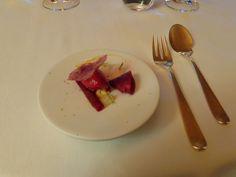 Yuzu & beet root served as sorbet and as a chip @ Restaurant Schloss Schauenstein