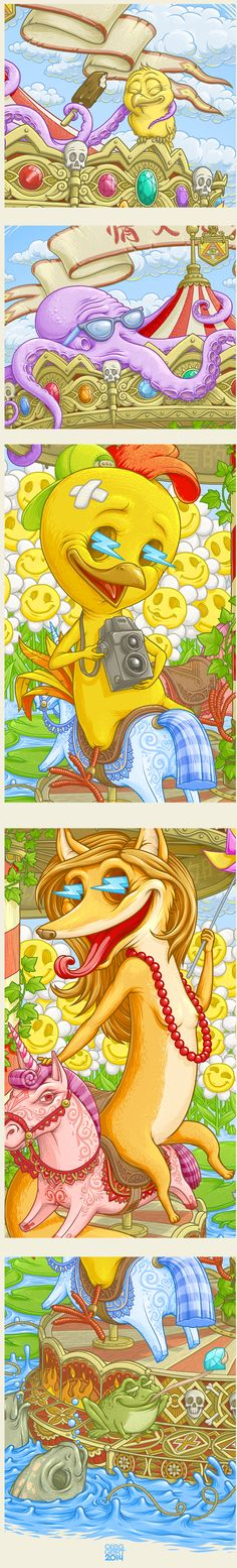 Mr. Chick with a girlfriend on the carousel of life by Oleg Gert, via Behance