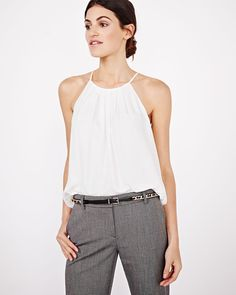 Solid halter cami blouse