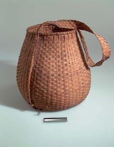 Culture/People:Mashpee Wampanoag Object name:Burden basket with burden strap Date created:circa 1900