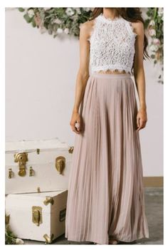 Our Classic Collection wouldn't be complete without a pleated maxi skirt! - Our Classic Collection wouldn't be complete without a pleated maxi skirt! Gold Prom Dresses, Bridesmaid Dresses, Bridesmaid Skirt And Top, Dress Skirt, Dress Up, Long Skirt Outfits, Modest Outfits, Classy Outfits, Pretty Outfits