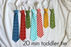 Fabulous step by step tutorial on making toddler elastic ties.- someone have a baby shower:)