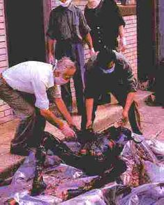"""A Serb soldier who was captured by the Muslims, skewered on a spear and exhibited in front of a hotel. """"He stayed alive for a few days,"""" said a Serbian journalist. That set off wild rumors throughout Bosnian Serb-held territories. World History, World War Ii, Gypsy Men, What Really Happened, First Night, Crime, Horror, Old Things, Serbian"""