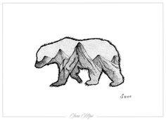 art Black and White painting tattoo pen geometric tattoo  Dotwork dotworktattoo bear mountains artist