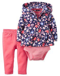 Baby Girl 3-Piece Fleece Cardigan Set | Carters.com