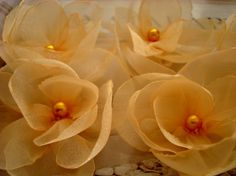 6 pieces gold goldenrod peaches organza sweety flowers by bidesign, $12.00
