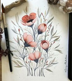 Watercolor Sketchbook, Watercolor Projects, Watercolor And Ink, Watercolor Paintings, Floral Illustrations, Illustration Art, Wildflower Drawing, Floral Drawing, Floral Artwork