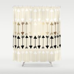 Arrows Shower Curtain Gold White Black