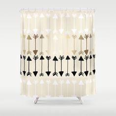 Arrows Shower Curtain Gold White Black