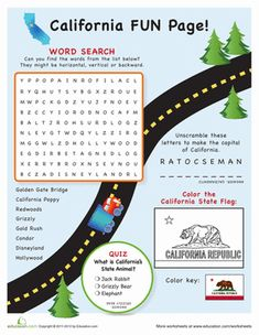 Fourth Grade Geography Travel Games Worksheets: California Fun Page