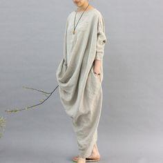 100% linen kaftan,extravagant long dress, holiday trip,women linen maxi dress, asymmetry robe dress by MUDANFLORAL on Etsy